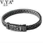 V.YA Cool 925 <b>Sterling</b> <b>Silver</b> Wide Heavy Bracelets for Men Weave Design Male Bracelet Thai <b>Silver</b> <b>Jewelry</b> 21cm 22cm Hot Sale