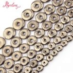 12,14,16,18mm Donuts Silver Gray Pyrite Natural Stone Beads For DIY Necklace Bracelet Pandant <b>Jewelry</b> <b>Making</b> 15″ Free Shipping
