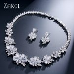 ZAKOL Sliver Color Women Luxury Dark Blue Green Marquise Shape Flower Zircon Bridal Wedding <b>Jewelry</b> Set FSSP049