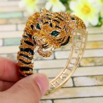 Bella <b>Fashion</b> Brown Enamel Tiger Rhinestone Bangle Austrian Crystal Animal Bangle Bracelet Cuff For Women Party <b>Jewelry</b> Gift