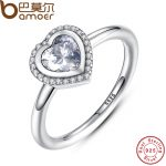BAMOER Spring Collection 925 Sterling Silver Sparkling Love Heart Ring Women <b>Jewelry</b> Saint Valentine's Day Gift PA7135