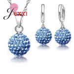 JEXXI Best Hot New <b>Jewelry</b> Sets 925 Sterling Silver Austrian Crystal Pave Disco Ball Lever Back Earring Pendant Necklace Woman