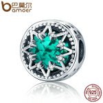 BAMOER Romantic 925 Sterling Silver Glittering Snowflake Green Crystal Beads fit Women Bracelet <b>Jewelry</b> Christmas Gift SCC308