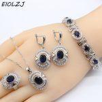 925 Sterling <b>Silver</b> <b>Bracelet</b> Sets For Women Oval Dark Blue Zircon Bridal <b>Silver</b> Jewelry Sets Pendant Ring Drop Earrings <b>Bracelet</b>