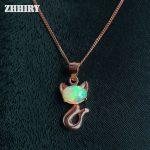 Natural Opal Pendant Necklace Fire Gem Stone 925 <b>Sterling</b> <b>Silver</b> Women <b>Jewelry</b> Lots Color Fox Animals Shape ZHHIRY