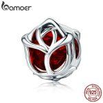 BAMOER Romantic 100% 925 Sterling Silver Rose Flower, Red Crystal Charm Beads fit Women Charm Bracelet DIY <b>Jewelry</b> <b>Making</b> SCC568