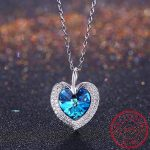 Angel Wings Pendant <b>Necklaces</b> Blue Crystal Heart <b>Necklace</b> For Women Christmas 925 Sterling <b>Silver</b> Jewelry Crystals From