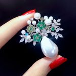 baroque natural fresh water pearl vase jardiniere brooch pins 925 <b>sterling</b> <b>silver</b> with cubic zircon flower fashion women <b>jewelry</b>