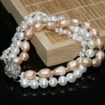 Natural white orange freshwater pearl Irregular lovely beads diy 3 rows high quality multicolor Necklace <b>making</b> 8 inch G006