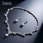 ZAKOL <b>Fashion</b> Cluster Flower Cubic Zirconia Crystal Women Earrings Necklace Set For Brides Wedding Costume <b>Jewelry</b> Set FSSP010