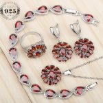 Red Zircon 925 Sterling <b>Silver</b> Bridal Costume Jewelry Sets Women Earrings Rings With Stones Pendant/Necklace/<b>Bracelets</b> Gift Box