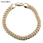 VANAXIN Hip Hop <b>Bracelet</b> CZ Paved Iced Out High Quality <b>Bracelets</b> Men Rock Jewelry Gold/<b>Silver</b> Color Chain CZ Crystal Jewelry