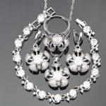 Women White Zirconia 925 Sterling <b>Silver</b> Bridal Jewelry Sets Stone Earrings <b>Bracelet</b> Pendant Necklace Rings Set Jewelry Box