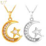 U7 Brand Muslim Crescent Pendant Necklace Silver/Gold Color Cubic Zirconia CZ Islam Moon Star <b>Jewelry</b> Women Gift P923