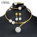 CWEEL African Beads <b>Jewelry</b> Set in Gold Color Bridal <b>Jewelry</b> Sets For Women Indian Wedding <b>Jewelry</b> Ball <b>Fashion</b> Necklace Set