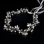 TUANMING 2017 Romantic Ornament Luxury <b>Fashion</b> Wedding Headband Pearl Crystal Flower Bride Headdress Wedding <b>Jewelry</b> Ribbon Hair