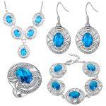 925-Sterling-<b>Silver</b> Sea-blue Garnet Jewelry Sets <b>Silver</b> <b>Bracelets</b>/Drop Earrings/Ring/Necklace/Pendant For Women Jewery