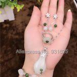925 <b>silver</b> Natural White Green HeTian Yu Lucky Pendant Necklace <b>Bracelet</b> Dangle Earring ring Set + certificate Fashion Jewelry