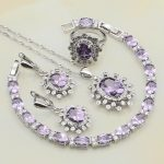 Purple Cubic Zirconia White CZ 925 Sterling <b>Silver</b> Jewelry Sets For Women Engagement Earrings/Pendant/Necklace/<b>Bracelet</b>/Ring