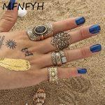 MFNFYH 4pcs/Set Bohemia Punk Flower Rhinestone Rings For Women <b>Antique</b> Tibetan Gold Color Knuckle Finger Bague Vintage <b>Jewelry</b>