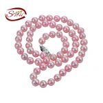 SNH 7mm AA- round pink color 925 sterling <b>silver</b> real natural pearl <b>necklace</b>