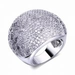 Huge Chunky Fashion Luxury Design Full Zircon Stones Bridal <b>Jewelry</b> Bold Classic Party Gift Exaggerated Women Big <b>Wedding</b> Ring