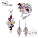 JewelryPalace luxury 10ct Pear Amethyst Garnet Citrine Pendant Necklace Drop <b>Earrings</b> Ring 925 Sterling <b>Silver</b> Fine Jewelry Sets