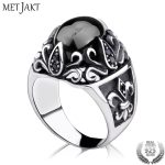 MetJakt Vintage Sirius's Eye Agate Ring with Obsidian Solid 925 <b>Sterling</b> <b>Silver</b> Ring for Women and Men Handmade <b>Jewelry</b>