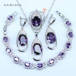 L&B Four Graces Elegant Purple Round Cubic Zirconia Stone Women Sterling <b>Silver</b> 925 Wedding Party Jewelry Sets For Women