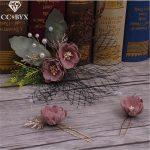 CC <b>Jewelry</b> Hair Stick Tiara Bridal Hair Accessories 3pcs Set Hairpins <b>Handmade</b> Flowers For Women Wedding Decorations Beads 1051