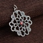 FNJ 925 Silver Pendant 100% Pure S925 Solid Thai Silver Synthetic Red Cubic Zircon Pendants for Women <b>Jewelry</b> <b>Making</b>