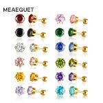 Meaeguet Cubic zirconia Women Stud Earring Muti Color Small Mini Crystal Flower <b>Wedding</b> <b>Jewelry</b> Anniversary Gift 12 Pairs Set