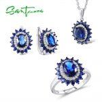 <b>Silver</b> Flower <b>Jewelry</b> Set Bridal Wedding <b>Jewelry</b> Set Blue CZ Stones Ring Earrings Pendant Set 925 <b>Sterling</b> <b>Silver</b> <b>Jewelry</b> Set