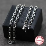 S925 <b>sterling</b> <b>silver</b> necklace bead chain personalized classic <b>jewelry</b> army long necklace couple models send lover's gift