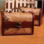 <b>Antique</b> wooden <b>jewelry</b> box small storage box nostalgia classical Western map style portable wooden box