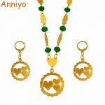 Anniyo Heart Pendant Necklaces Earrings With Colored Beads Jewellery sets Moms Gifts Gold Color Trendy Islands <b>Jewelry</b> #127206