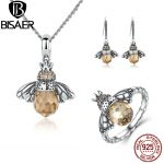 BISAER Genuine 925 Sterling <b>Silver</b> Jewelry Sets Fashion Orange Crystal Bee Jewelry Set Luxury Authentic <b>Silver</b> Jewelry GUS043