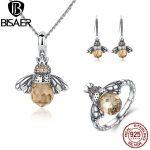 BISAER Genuine 925 Sterling <b>Silver</b> Jewelry Sets Fashion Orange Crystal Bee Jewelry Set Luxury Authentic <b>Silver</b> Jewelry GUS043