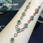 KJJEAXCMY boutique <b>jewelry</b>,Female natural emerald row chain inlaid <b>jewelry</b> wholesale, S925 <b>silver</b>, pure <b>silver</b> wholesale process