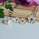 Lotus Fun Real 925 Sterling <b>Silver</b> Natural Stone Original Handmade Fine Jewelry Peony Flower Jewelry Set for Women Brincos