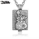 ZABRA Genuine 925 <b>Sterling</b> <b>Silver</b> Buddha Pendant Necklace For Men Vintage Wish Totem Prayer Box Mens Pendants <b>Jewelry</b> Making