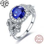 J.C Female Fine <b>Jewelry</b> Rainbow & Sapphire Blue Topaz For Unisex Lovers Genuine Solid 925 Sterling <b>Silver</b> Ring Size 6 7 8 9