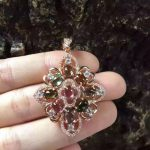 natural Multicolor tourmaline pendant 925 <b>Sterling</b> <b>silver</b> Natural gemstone Pendant Necklace trendy Elegant Leaves women <b>jewelry</b>
