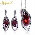 Ajojewel Vintage Bridal Zircon <b>Jewelry</b> Sets Red Earrings Necklace Set Cubic Zirconia Luxury Women <b>Accessories</b>