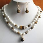 Prett Lovely Women's Wedding 2 styles! Wholesale 2 rows 8mm shell pearl/gem lady's nice necklace+14mm pearl earring and necklac