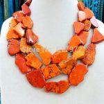 Fashionable Wedding Handmade Orange Stone Slice <b>Necklace</b> Woman Gift Exaggerated Jewelry Stone Stone 3 Layer <b>Necklace</b>