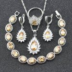 Fashion Jewelry Set For Women <b>Silver</b> Color 925 Stamp Orange Yellow Morganite <b>Bracelet</b> Necklace Earrings Ring pendant B24