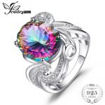 JewelryPalace 12.7ct Genuine Rainbow Fire Mystic Topaz Ring Solid 925 Sterling <b>Silver</b> <b>Jewelry</b> For Women Vintage Fashion 2018 New