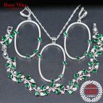 Green Zircon <b>Silver</b> 925 Bridal Jewelry Sets Wedding Women Necklace & Earrings <b>Bracelet</b> With Zircon Sets Gift Box