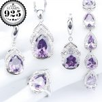 Purple Zirconia <b>Silver</b> 925 Costume Jewelry Sets <b>Bracelets</b> Rings Pendant Necklace Earrings With Stones For Women Set Gift Box